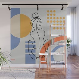 One line continuous of sexy body set Single line drawing art Woman body isolated Geometric shapes 01 Wall Mural