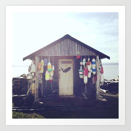 Beach Shack Bouys, Lummi Island Art Print