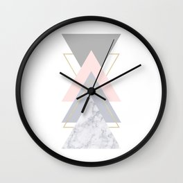 Blush Marble Gray Gold Geometric Pattern Wall Clock