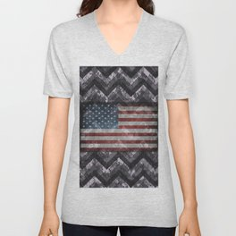 Periwinkle Purple Digital Camo Chevrons with American Flag Unisex V-Neck