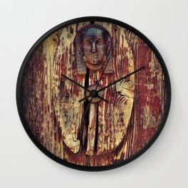 weathered wooden door with agypt door knocker Wall Clock