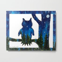 Owl Silhouette with Night Forest Metal Print