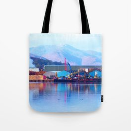 Industrial reflection at mountains edge Tote Bag