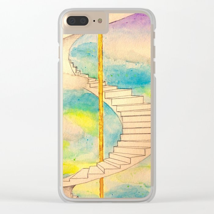 Fantasy Stairs Watercolor Clear iPhone Case