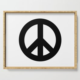 Black on White CND Peace Symbol Serving Tray