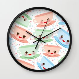Cute blue pink green Kawai cup, coffee tea with pink cheeks and winking eyes, polka dot background Wall Clock
