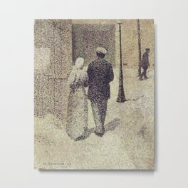 Charles Angrand - Man and Woman in the Street Metal Print