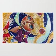 Sailor Moon and Luna Fan Art Pop Surrealism  Rug