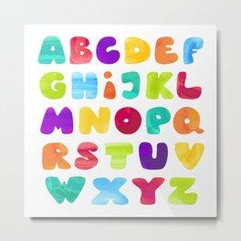 Kids ABC - watercolor style Metal Print
