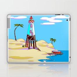 A Lighthouse on the Lazy, Sunny Beach with Palm Trees Laptop & iPad Skin