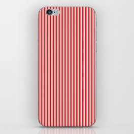 Mini Berry Red and White Rustic Vertical Pin Stripes iPhone Skin