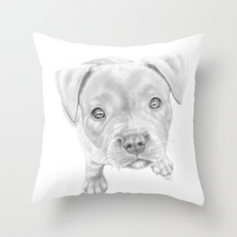 Staffordshire Terrier Puppy Throw Pillow
