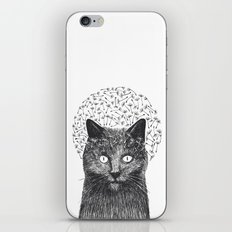 Dandelion black cat iPhone & iPod Skin