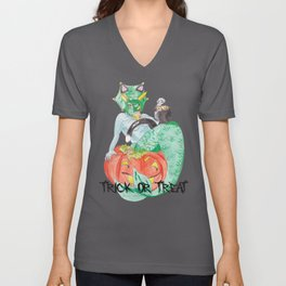 Mermasaur Kitty~HALLOWEEN Unisex V-Neck