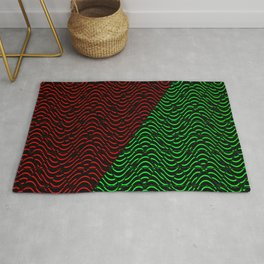 Trippy Triangle Color-Split (Red/Green) Rug