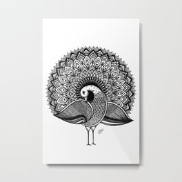 Black White Decorative Peacock Design Metal Print