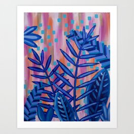 Blue Tropical Leaves Abstract Acrylic Painting Art Print