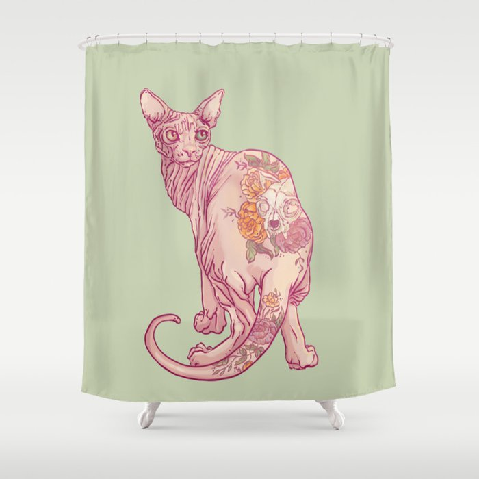 Skinny Cat Shower Curtain By Hypathieaswang