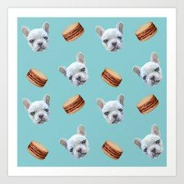 French Bulldog and macaroon pattern (Chocolate) Art Print