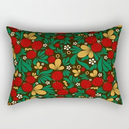 Strawberry pattern in traditional russian style hohloma khohloma Rectangular Pillow