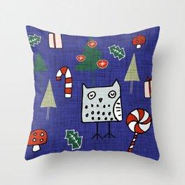 Christmas Owl Blue #Christmas #Holiday Throw Pillow
