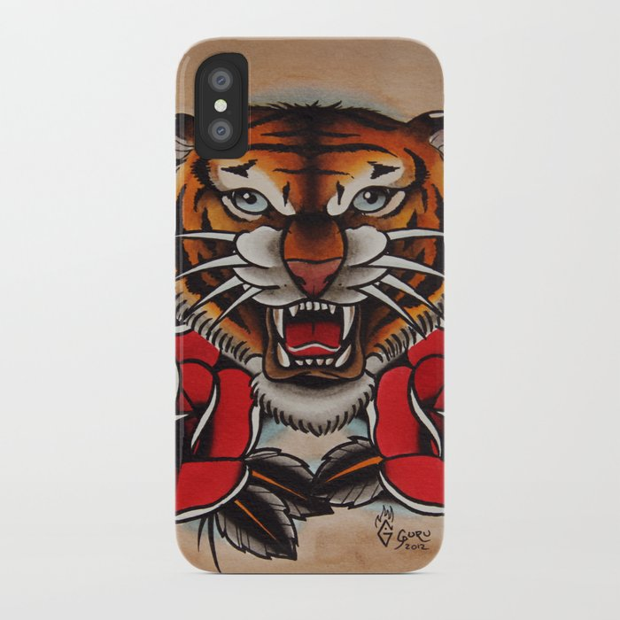 13cc9c732 Old School Tiger and roses - tattoo iPhone Case by gurumarques   Society6