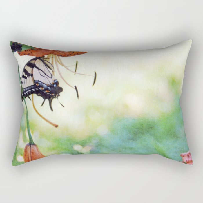 tiger swallowtail on tigerlily Rectangular Pillow