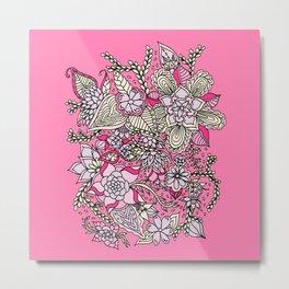 Spring summer pastel pink purple floral illustration Metal Print