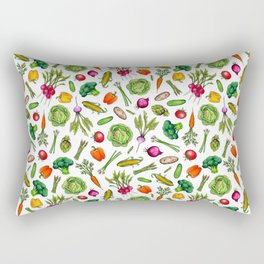 Vegetable Garden - Summer Pattern With Colorful Veggies Rectangular Pillow
