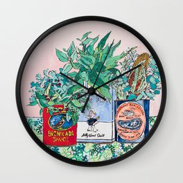 Jungle Botanical in Colorful Cans on Pink - Still Life Wall Clock