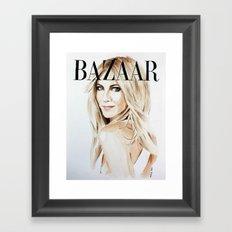 Harper's Bazaar Magazine Cover. Jennifer Aniston. Fashion Illustration Framed Art Print