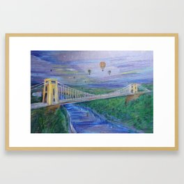 Clifton Suspension Bridge - Hot air balloon festival Framed Art Print