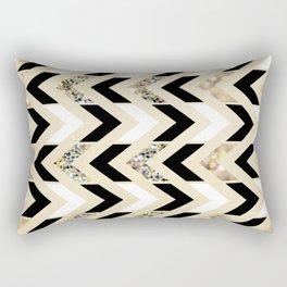 Black, White & Gold Glitter Herringbone Chevron on Nude Cream Rectangular Pillow