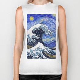 "Hokusai,""The Great Wave off Kanagawa"" + van Gogh,""Starry night"" Biker Tank"