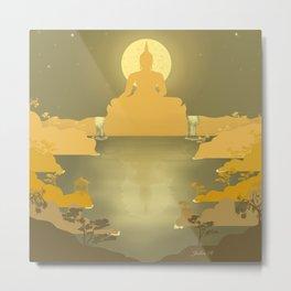 Buddha Night - Minimal Art Metal Print