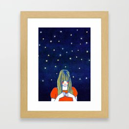 Girls in blue Framed Art Print