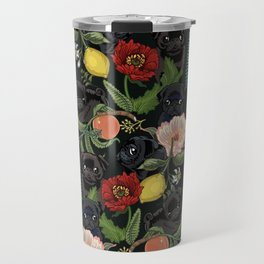 Botanical and Black Pugs Travel Mug