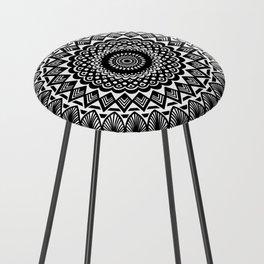 Detailed Black and White Mandala Counter Stool