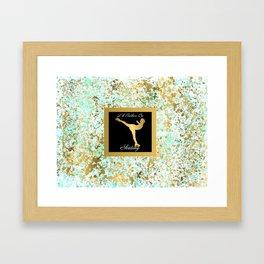 Figure Skating I Would Rather Be Skating- Mint and Gold Splatter Paint Design Framed Art Print
