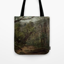 Ferntree and Palms, Tropical Gully landscape portrait by Eugene von Guerard Tote Bag