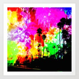 palm tree at the California beach with colorful painting abstract background Art Print