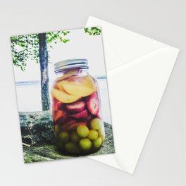 Mason Jar Camping Sangria on Lake Pemaquid, Maine Stationery Cards