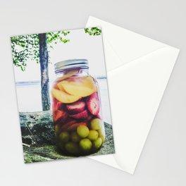 Mason Jar Camping Sangria on Lake Pemaquid, Maine Stationery Cards
