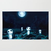 princess mononoke Area & Throw Rugs featuring Princess Mononoke (Kodama) by pkarnold + The Cult Print Shop