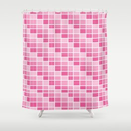 Four Shades of Pink Squares Shower Curtain