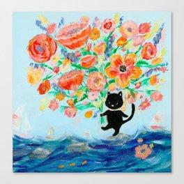 Black cat bouquet Canvas Print