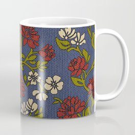 Vintage style victorian floral upholstery fabric Coffee Mug
