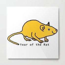 Yellow Year of the Rat Metal Print