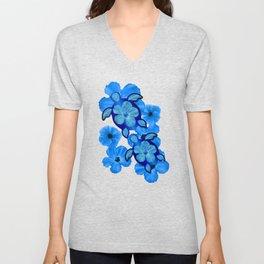 Blue Hibiscus And Honu Turtles Unisex V-Neck