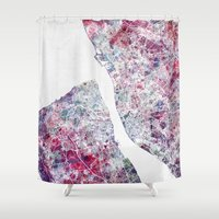 liverpool Shower Curtains featuring Liverpool map by MapMapMaps.Watercolors